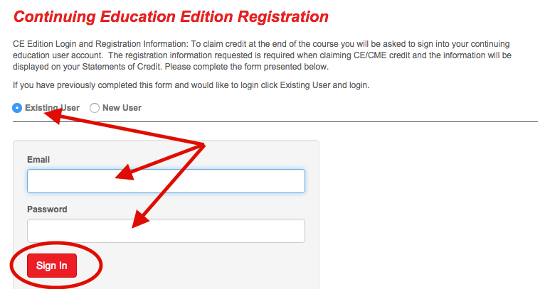shows the fields you must supply to log into the CE site