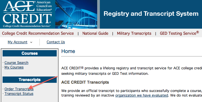 step 2 of ordering a transcript from ACE